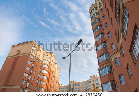 Modern Luxury apartments (condo) in bright sunny day  - stock photo