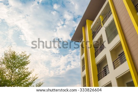 Modern Luxury apartments (condo) on day time for background usage. - stock photo
