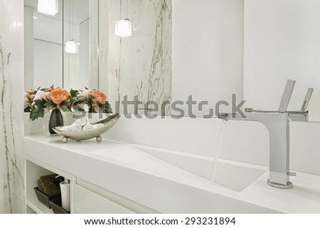 Modern luxury bathroom - stock photo