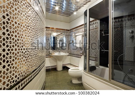 Modern luxury bathroom interior - stock photo
