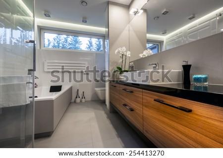 Modern luxury bathroom  interior design - stock photo
