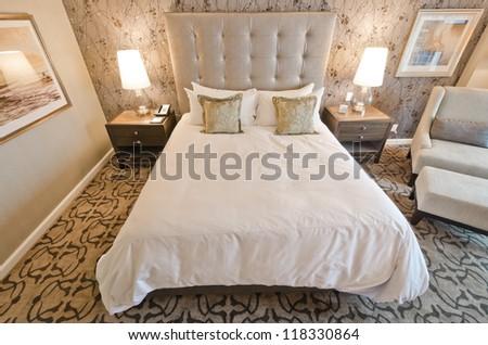 Modern luxury bedroom. Interior design - stock photo