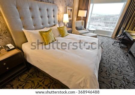 Modern luxury bedroom. Interior design. - stock photo