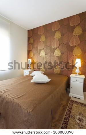 modern luxury bedroom wallpaper hotel room stock photo