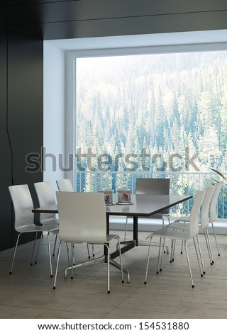 Modern luxury black dining room with elegant white furniture