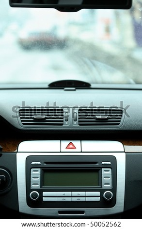 Modern luxury car interior, windshield - stock photo
