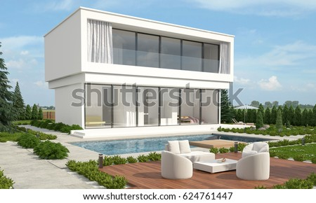 Modern luxury designer built home with a double storey white villa facing a  sparkling swimming poolDouble storey Stock Images  Royalty Free Images   Vectors  . 3d Home Design Images Of Double Story Building. Home Design Ideas