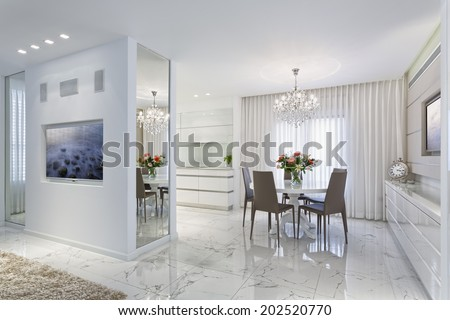 Modern Luxury Dining Room - Home Styling - stock photo