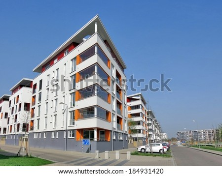 Modern luxury district with apartment blocks - stock photo