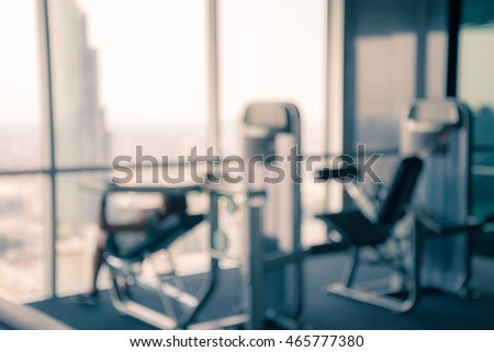 Modern luxury fitness center city view abstract blur background - Vintage filter effect