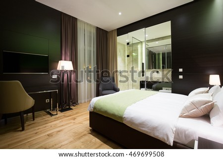 Modern luxury hotel suite interior