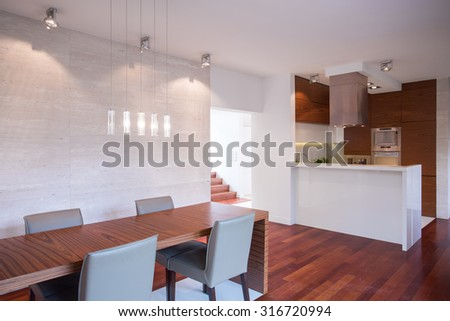 Modern luxury interior in white and brown color