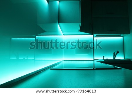 modern luxury kitchen with led lighting