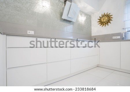 Modern luxury kitchen with marble wall - stock photo
