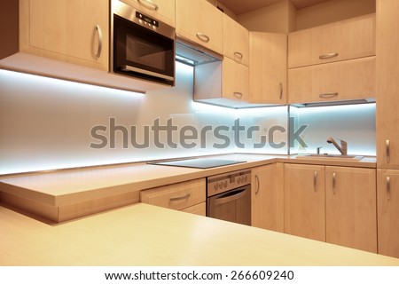 luxury kitchen lighting. modern luxury kitchen with white led lighting