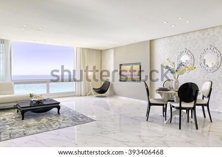 Modern Luxury Living And Dining Room - Home Styling - stock photo