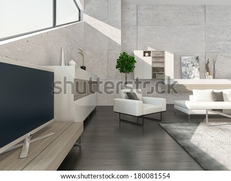 Modern luxury living room interior with nice furniture - stock photo