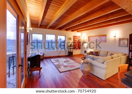 MOdern luxury living room with nice cherry hardwood floor in Seattle - stock photo