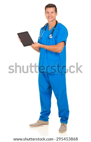 modern male doctor showing tablet computer screen - stock photo