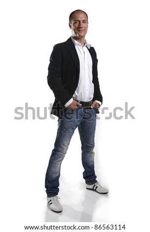 modern male on white - stock photo