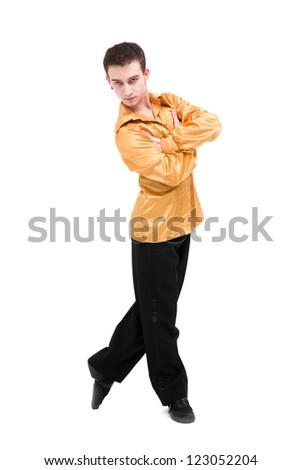 Modern man dancer posing on a white background - stock photo