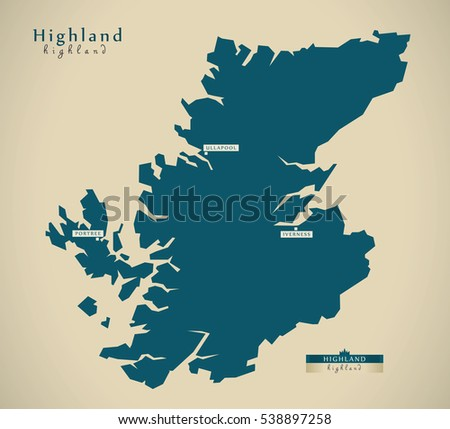 Modern Map - Highland UK Scotland illustration