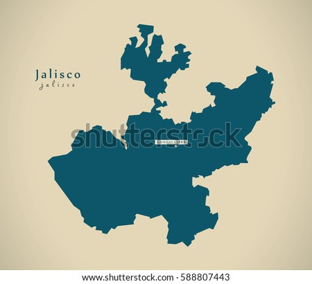 Modern Map - Jalisco Mexico MX illustration