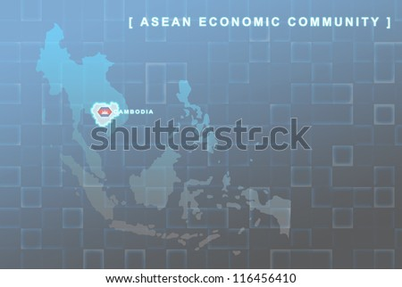 Modern map of South East Asia countries that will be member of AEC with Cambodia flag symbol in background