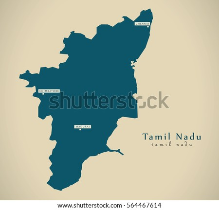 Tamil nadu map stock images royalty free images vectors modern map tamil nadu in india federal state illustration silhouette gumiabroncs Images