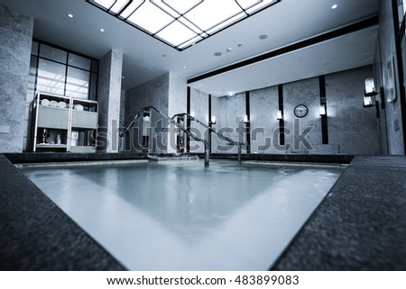 modern marble house , indoor pool with sauna