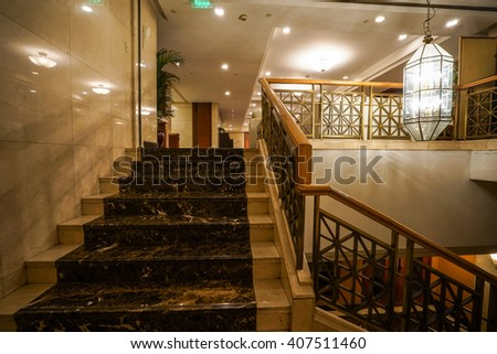 Modern marble stairs for luxury interior. - stock photo