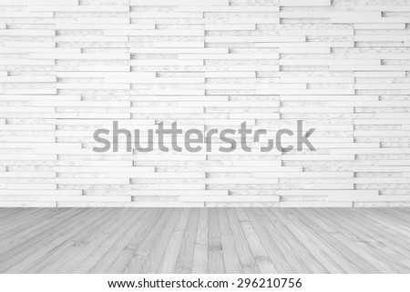 Modern Marble Tile Wall Pattern Textured Background In Light White Color With Wooden Floor Grey