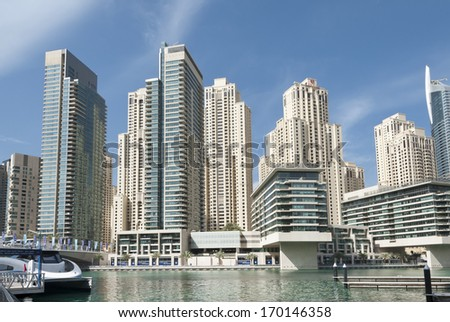 Modern marina in Dubai, UAE - stock photo