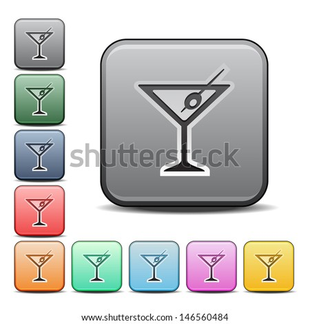 Modern Martini Icon with Color Variations.  Raster version, vector also available. - stock photo