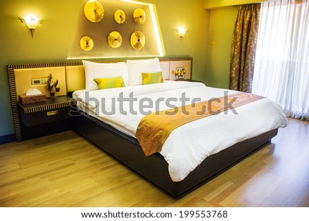 Modern master bedroom interior,(photo coming from my gallery) - stock photo