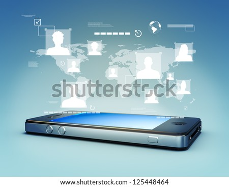 Modern media touch screen technology, smartphone connecting information to the world concept. - stock photo