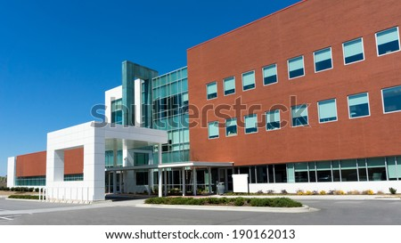Modern medical center building exterior detail