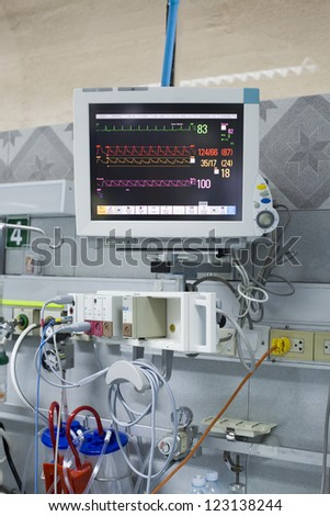 modern medical monitor with ECG in the clinic. - stock photo