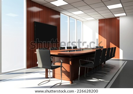 Modern Meeting Room 3D Interior with Big Windows - stock photo