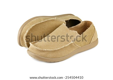 Modern mens loafers over white background