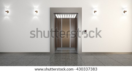 Modern metal elevator with open doors and hall interior 3D illustration