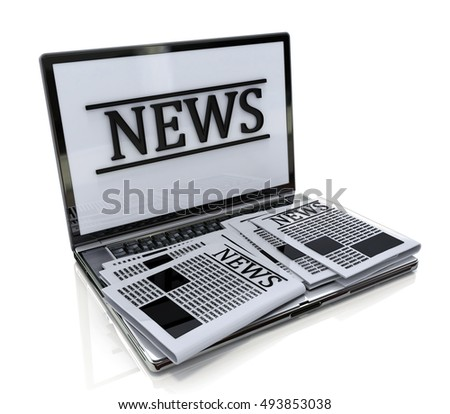 Modern metal glossy office laptop with news internet isolated on white background with reflection effect in the design of the information related to the online news. 3d illustration