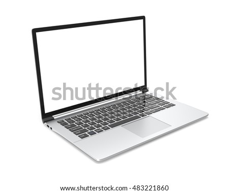 Modern metal office laptop or silver business notebook with blank screen isolated on white background. 3d illustration.