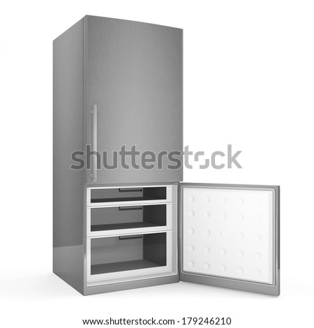 Modern metallic refrigerator with opened door isolated on white background - stock photo