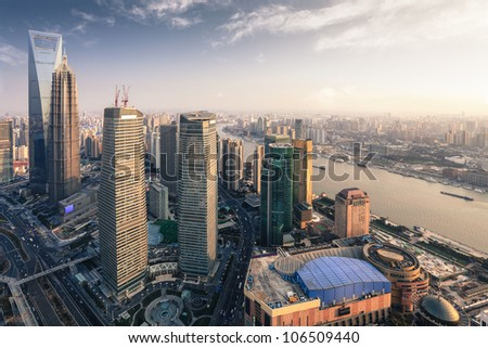 modern metropolis of shanghai at dusk, aerial view from the oriental pearl tower - stock photo