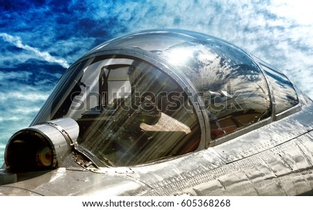 Modern military fighter jet aircraft canopy exterior close up silhouette view pilot inside cockpit interior airplane & Modern Military Fighter Jet Aircraft Canopy Stock Photo 605368268 ...