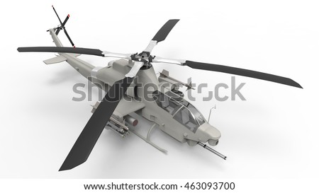 Modern Military helicopter standing on the ground. Illustration isolated on white background. 3d illustration.