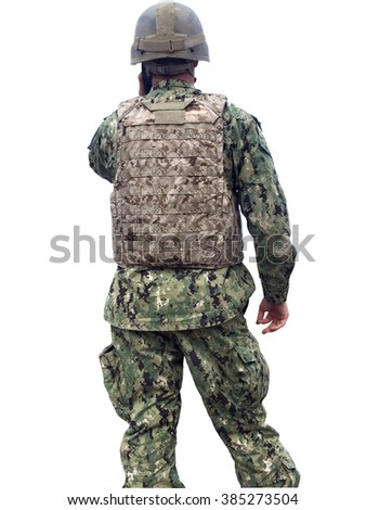 Modern military soldier isolated over a white background - stock photo