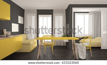 Modern minimal kitchen and living room with bedroom in the background, small apartment, gray and yellow interior design, 3d illustration