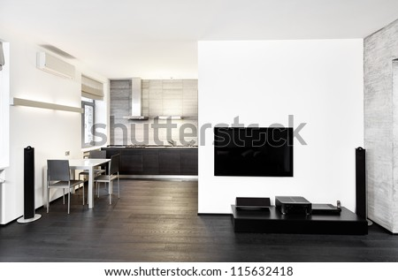 Modern minimalism style kitchen and drawing room interior in monochrome tones - stock photo